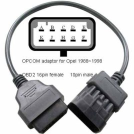 Opel 10 Pin OBDI to 16 Pin OBDII Cable Adapter